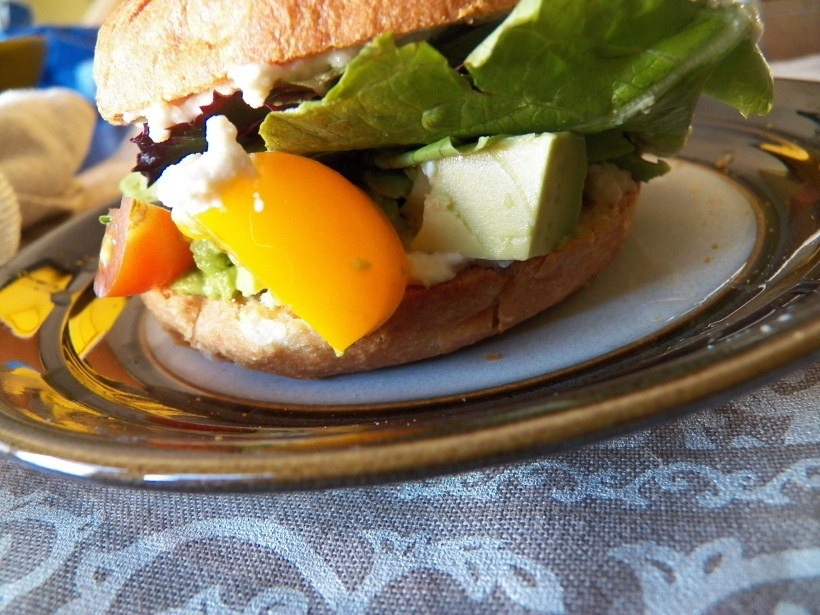 Vegetable Bagel Sandwich